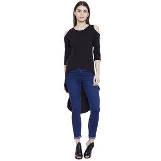 Hypernation Solid Women's Cold Shoulder Asymmetrical T-shirt