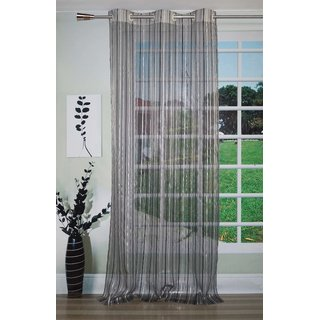 Lushomes Stylish Black Sheer Curtains with Stripes for Doors