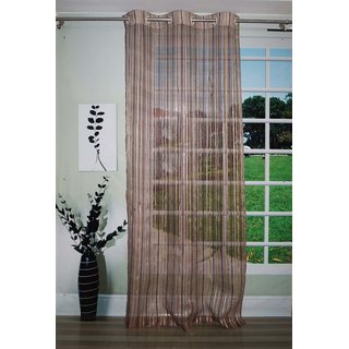 Lushomes Stylish Brown Sheer Curtains with Stripes for Doors