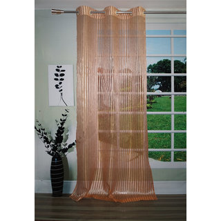Lushomes Stylish Rust Sheer Curtains with Stripes for Doors