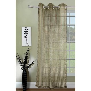 Lushomes Stylish Green Sheer Curtains with Stripes for Doors