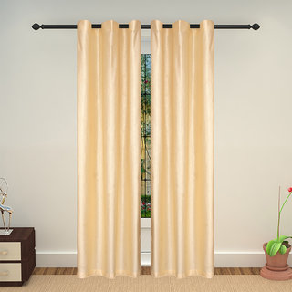 Lushomes Embossed Cream Blueberry Curtain with 6 plastic eyelets for Doors (Single pc pack)