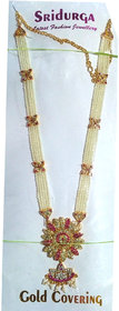 Set of 2 Pearl and gold plated haar necklace for festive gauri occasion
