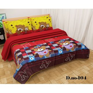 Angel homes 3D Printed Super Soft Double Bedsheet + 2 Pillow Covers(PC-09)