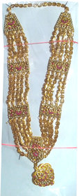Set of 2 Gold plated haar necklace for festive gauri occasion