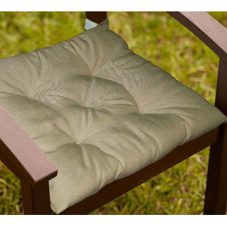 Lushomes Dark Beige Water resistant chair cushion with 5 knots and Velcro. ( 40 x 40 cms Pack of 2)- Outdoor collection