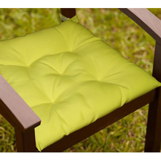Lushomes Lemon Yellow Water resistant chair cushion with 5 knots and Velcro. ( 40 x 40 cms Pack of 2)- Outdoor collection