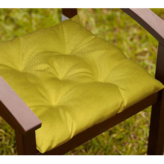 Lushomes Palm Water resistant chair cushion with 5 knots and Velcro. ( 40 x 40 cms Pack of 2)- Outdoor collection