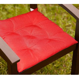 Lushomes Tomato Water resistant chair cushion with 5 knots and Velcro. ( 40 x 40 cms Pack of 2)- Outdoor collection