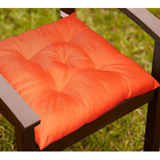 Lushomes Dark Red Water resistant chair cushion with 5 knots and Velcro. ( 40 x 40 cms Pack of 2)- Outdoor collection