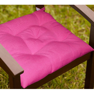 Lushomes Fuchsia Water resistant chair cushion with 5 knots and Velcro. ( 40 x 40 cms Pack of 2)- Outdoor collection