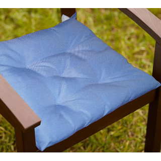 Lushomes Light Blue Water resistant chair cushion with 5 knots and Velcro. ( 40 x 40 cms, Pack of 2)- Outdoor collection
