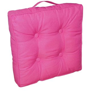 Lushomes Fuchsia Water Resistant box cushion with cord piping. (40 x 40 cm, 8 cm thickness)-Outdoor collection