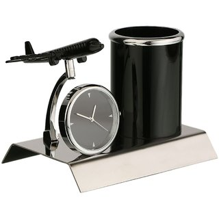 AEROPLANE DESIGNED MULTIUSE CLOCK AND PENSTAND FOR GIFTS, OFFICE USE AND STATIONERY