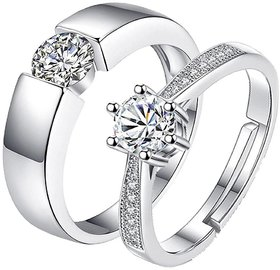 Limited Edition Engagement Sterling Silver Cubic Zirconia Solitaire Adjustable Couple Rings (2pc)