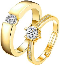 King  Queen Love Forever Sterling Silver Cubic Zirconia Elements Adjustable Couple Rings