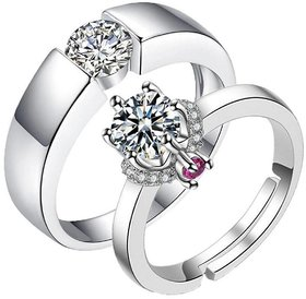 Prince  Princess Sterling Silver Cubic Zirconia Crystal Designer Couple rings