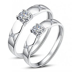 King  Queen Edition Cubic Zirconia Crystal Silver Adjustable Love Couple Rings By DC