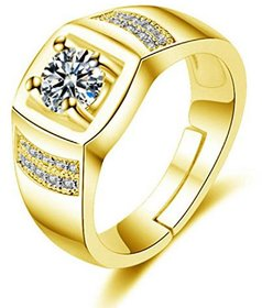 Exclusive Limited Edition 24KT Gold Cubic Zirconia Solitaire Adjustable Mens Rings