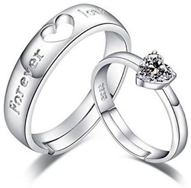 King  Queen Love Forever Designer Edition Cubic Zirconia Crystal Silver Adjustable Love Couple Rings By DC