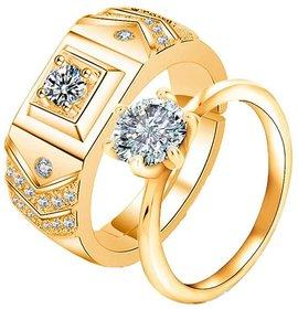 King  Queen 24 KT Gold Cubic Zirconia Zirconia Adjustable Couple Rings