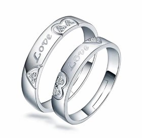 Mr  Mrs Love Forever Sterling Silver Cubic Zirconia Crystal Designer Edition Adjustable Engagement Couple Rings