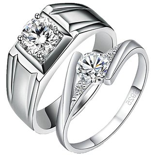 Mr  Mrs Love Forever Designer Edition Adjustable Engagement Couple Rings
