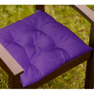 Lushomes Purple Water resistant chair cushion with 5 knots and Velcro. ( 40 x 40 cms Pack of 2)- Outdoor collection
