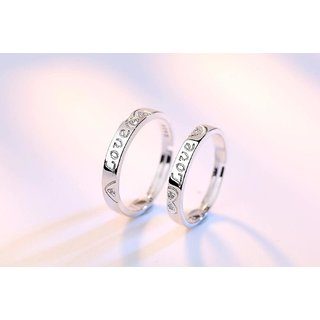 87b7cdf7ae8 Mr Mrs Love Forever Sterling Silver Cubic Zirconia Crystal Designer Edition  Adjustable Engagement Couple Rings