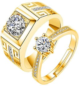 King  Queen Love Forever 24KT Gold Cubic Zirconia Elements Adjustable Couple Rings