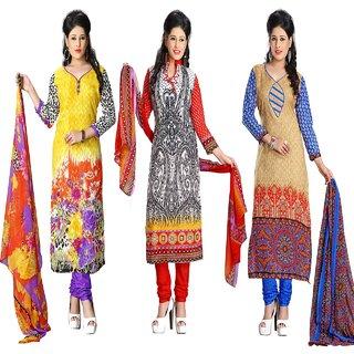 Kesu Fashion Women's Combo Printed Un-stitched Salwar Suits / Dress Materials (Cotton FabricMulti ColorZH08-18-21)