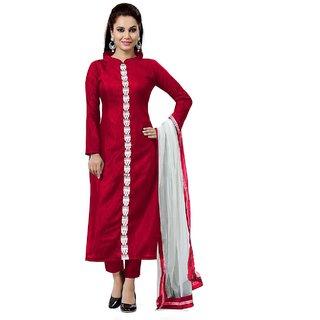 Kesu Fashion Women's Plain and Solid Un-stitched Salwar Suits / Dress Materials (Banglori Silk FabricRed ColorZHKTN1004)