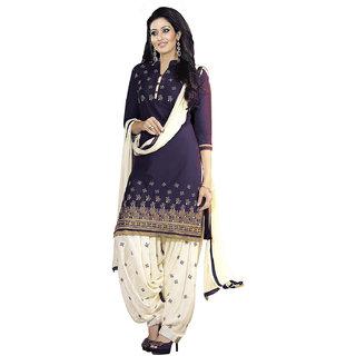 Kesu Fashion Women's Embroidered Un-stitched Salwar Suits / Dress Materials (Cotton FabricBlue ColorZHKPT1005)
