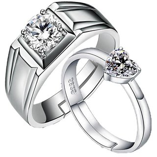 5216bf98105 His Her Love Forever Designer Edition Adjustable Engagement Couple Rings  Sterling Silver Cubic Zirconia Zirconia 24K White Gold Plated Ring Set