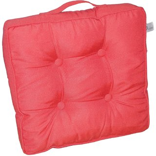 Lushomes Tomato Water Resistant box cushion with cord piping. (40 x 40 cm 8 cm thickness)-Outdoor collection