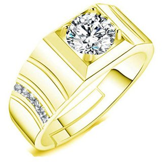 Exclusive Limited Edition 24KT Gold Cubic Zirconia Crystal Adjustable Mens Rings
