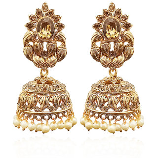 JewelMaze Gold Plated Brown Austrian Stone Jhumki Earrings-1311331