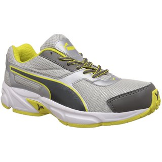 Puma Men's Silver, Steel Grey, Limelight and White Running Shoes