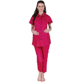 Vixenwrap Red  Blue Heart Printed Maternity Top  Pyjama