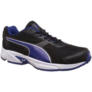 Puma Mens Black Mazarine Blue Silver and White Running Shoes
