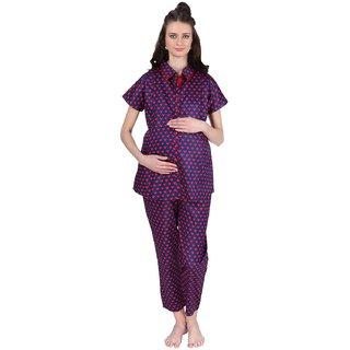 Vixenwrap Blue  Red Heart Printed Maternity Top  Pyjama