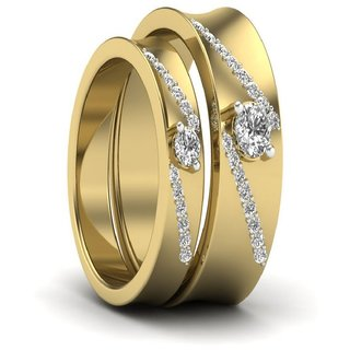 SILVERISH 92.5 Silver Couple Band Yellow Gold Plated Silver Ring Set SCBR139-P