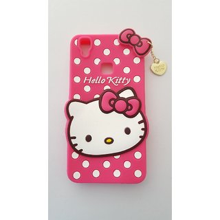 Vivo V3 Back Cover - Dream2Cool Printed Hello Kitty Soft Rubber Silicone Pink Back Cover Case For Vivo V3 Back Cover- Pink