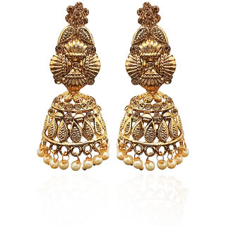 JewelMaze Gold Plated Brown Austrian Stone Jhumki Earrings-1311334