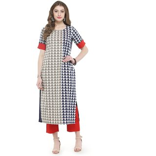 Varanga White Geometric Printed Kurta with Rust solid pants VAR118014_PZ1180002