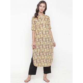 Varanga beige printed Kurta with black solid pants VAR1181123_PZ17117