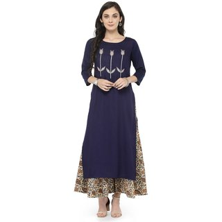 Varanga Blue Embellished Kurta with Multicolor Printed Palazzo VAR118114_PZ118085