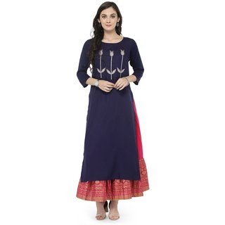 Varanga Blue Embellished Kurta with Pink Printed Skirt VAR118114_PZ21029