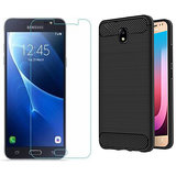 Samsung Galaxy J7 Pro Back Case Cover Plus Tempered Glass Combo,Samsung Galaxy J7 Pro Slim Fit Rugged Armor Carbon Fiber texture Silicon Back case cover with tempered glass Screen Guard