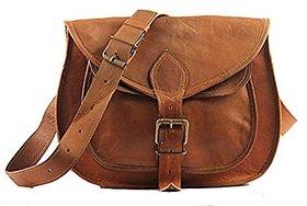 IHandikart  11 Inch Leather Brown Sling Shoulder Bag Fo